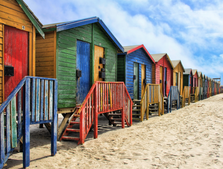 Muizenberg's iconic, colourful beach huts.